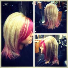 A #byMario pop of pink haircolor by #MarioTricociOrlandPark @BrendaColoristMT (photo cred). #MarioTricoci #ChicagoSalon #ChicagoSpa