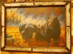 """Bears Walking in Birch Frame. Approximate Size with Frame: 43"""" x 31"""" Available at Cabin Creations in Phillips, WI. www.cabincreationswi.com"""