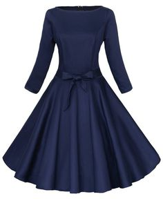 Vintage Round Neck Long Sleeve Pure Color Midi Dress For Women