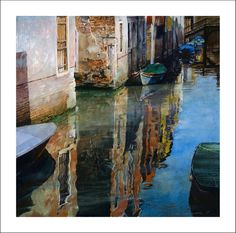 42 Watercolor Paintings By American Artist Stan Miller Watercolor Architecture, Watercolor Landscape Paintings, Watercolor Artists, Landscape Art, Cool Paintings, Beautiful Paintings, Venice Painting, Watercolor Water, Tier Fotos