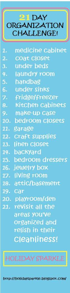 Organizing home 21 day challenge