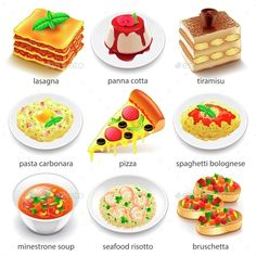 Italian Food Icons Detailed Photo Realistic Vector Set Zip file includes: - eps10, editable vector- high-resolution jpg- layered