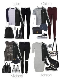 """5SOS Styles: adidas Superstar Track Jacket"" by fivesecondsofinspiration ❤ liked on Polyvore featuring Calvin Klein, adidas, Ström, Topshop, H&M, 3.1 Phillip Lim, '47 Brand, NIKE, Vans and Converse"