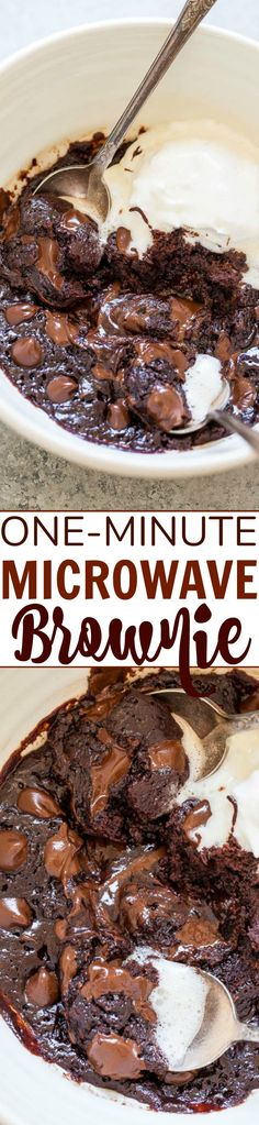 One-Minute Microwave Brownie When chocolate cravings strike make this EASY brownie recipe in one bowl without a mixer and its ready in ONE MINUTE! Rich FUDGY decadent and accidentally vegan! (no dairy no butter no eggs! Mug Recipes, Brownie Recipes, Cake Recipes, Dessert Recipes, Cooking Recipes, Microwave Recipes, Easy Desserts, Delicious Desserts, Yummy Food