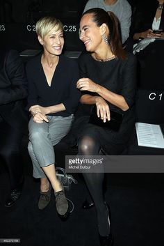 Robin Wright and Roberta Armani attend the Giorgio Armani Prive show as part of Paris Fashion Week Haute-Couture Spring/Summer 2015 on January 2015 in Paris, France. Curly Pixie Cuts, Short Hair Cuts, Short Hair Styles, Robin Wright Haircut, New Haircuts, Pixie Hairstyles, Great Hair, Cut And Style, Hair Dos