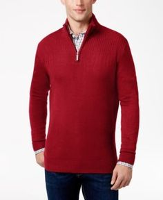 Geoffrey Beene Men's Big & Tall Quarter Zip Sweater - Red XLT