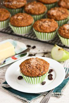 Banana Apple Bran Muffins - @farmgirlsdabble