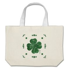 Shamrocks - vintage style canvas bag   •   This design is available on t-shirts, hats, mugs, buttons, key chains and much more   •   Please check out our others designs at: www.zazzle.com/ZuzusFunHouse*