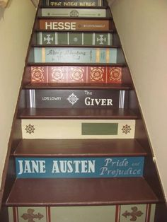23 Light for Stairways Ideas With Beautiful Lighting [Step Lights You'll Love] Stairs Painted Like Books, Painted Books, Book Staircase, Staircase Ideas, Painted Staircases, Basement Inspiration, Cricut, Home And Deco, Stairways