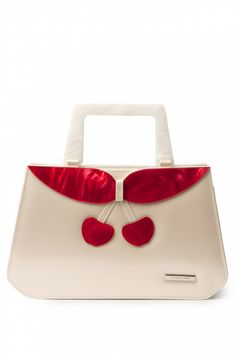 Collectif Clothing - 40s Debbie Lucite Patent Cherry Retro handbag Champagne