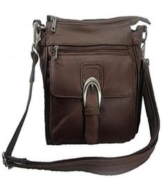 Leather Concealed Carry Cross Body Gun Purse Left or Right Hand W/ Holster-Brown #RomaLeathers #MessengerCrossBody