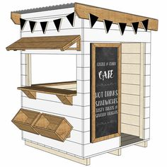 Kids Cubby Houses, Kids Cubbies, Play Houses, White Cafe, Wendy House, Cafe House, Backyard Play, House Drawing, Gardens