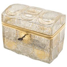 View this item and discover similar for sale at - This beautifully etched glass casket has intricate detailing throughout, typical of Bohemian glass which is famous for its cut and engraving.