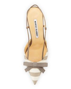 Manolo Blahnik Galop Striped Canvas Halter Pump, Taupe/White - Neiman Marcus