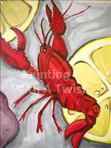 painting with a twist. There is a felt Lobster like this on etsy I am in Love wi… painting with a twist. There is a felt Lobster like this on etsy I am in Love with. Paint what you love and it will come out Lobster Art, Lobster Drawing, Louisiana Art, Sea Life Art, Ball Drawing, Wine And Canvas, La Art, Nautical Art, Small Paintings