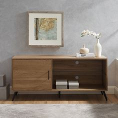 Walnut Tv Stand, Cord Management, Wood Dust, Dark Walnut, Glass Shelves, Adjustable Shelving, Tvs, Family Portraits, Mid-century Modern