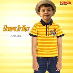 Add #stripes to the wardrobe of your little one & let him discover his #fashion on #Basicxx. Shop here.  #Basicxx #BasicxxOnline #BasicxxKids #Riyadh #Jeddah #Dhahran #InspirationFulfilled