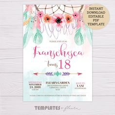 Pink Green Bohemian Invitation with Dreamcatcher and Feathers Bohemian Birthday Party, Bohemian Party, 18th Birthday Party, Birthday Ideas, Happy Birthday, Free Birthday Invitation Templates, Birthday Card Template, Invitation Background, Invitation Cards