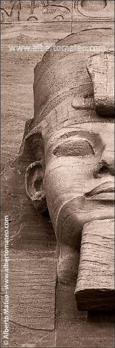 Ramses II face detail in the main facade of Abu Simbel Temple, Abu Simbel, Egypt - © Alberto Mateo, Travel Photographer