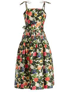 Floral-print silk and cotton-blend dress | Oscar De La Renta | MATCHESFASHION.COM US