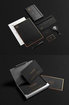 Black and Gold Stationery MockUp PSD