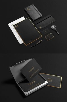 Black and Gold Stationery MockUp PSD