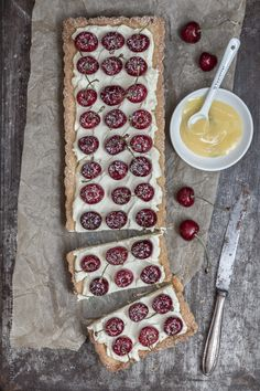 cherry tarte with homemade lemon curd