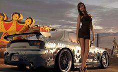 Krystal Forscutt and Mazda RX-7 HD Wallpaper