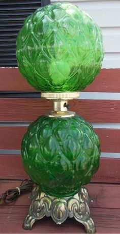 VINTAGE RETRO ACCURATE CASTING GWTW GONE WITH THE WIND GREEN DOUBLE GLOBE LAMP