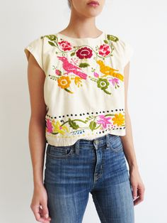 Embroidered Crop Top // Vintage Colorful Mexican Folk Top SOLD