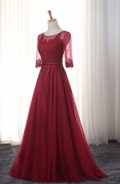 Elegant O-Neck A-Line Sweep Train Lace Evening Dress Cheap Prom Dresses Robe De Soiree Party Dress With Half Sleeves Inexpensive Prom Dresses, Elegant Prom Dresses, Cheap Evening Dresses, Formal Dresses, Burgundy Evening Dress, A Line Evening Dress, Evening Gowns, Evening Party, Prom Dresses Long With Sleeves