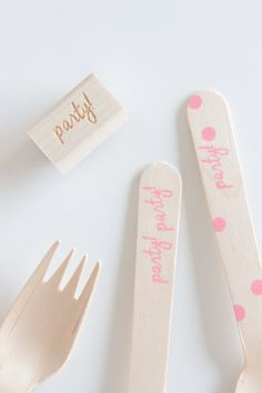 "Stamped Wooden Utensil Kit - Includes ""party!"" Stamp, Wooden Utensils & Ink"