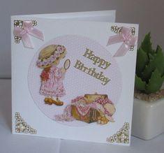 Geburtstagskarte kleine Lady, handgemacht, 3D Motiv von KartengalerieDoris auf Etsy Lettering, Etsy, 3d, Pink Ribbons, Handmade Birthday Cards, Worth It, Letters, Texting, Calligraphy