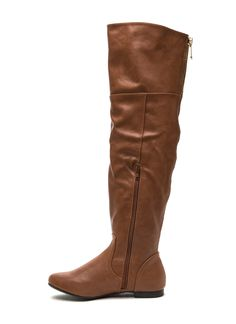 Focal Point Faux Leather Boots CHESTNUT