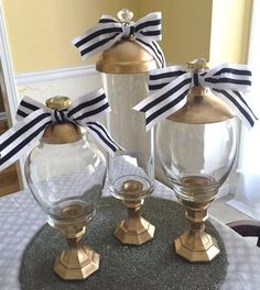 2 Sets Gold Candy Jars Apothecary Jars 6 Jars Total Wedding Candy Home New | eBay