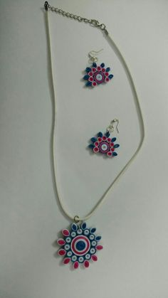 Quilling pendant and earrings