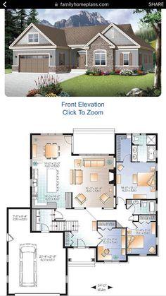 3 bedroom house plans: see 60 modern design ideas Sims House Plans, House Layout Plans, Bungalow House Plans, Family House Plans, Ranch House Plans, Cottage House Plans, Craftsman House Plans, New House Plans, Dream House Plans