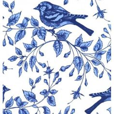 Blue and White Birds on the Vine Azure Cotton Fabric by Michael Miller - Order Online - Fabric Traders