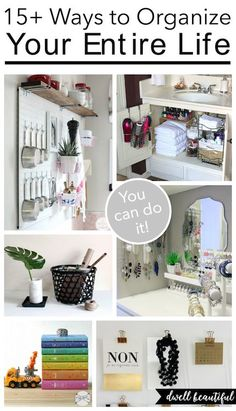 Get your entire life organized for 2016! Tips and tricks to organize your bedroom, office, bathroom, closet, your kids, and more - basically your entire home! Become a pro at organization with these great DIY ideas!