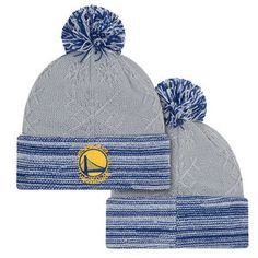 uk availability dd2f1 c5eae Golden State Warriors New Era Women s Primary Logo Snow Crown Redux Pom Knit  - Grey Blue