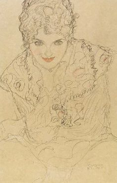 Seated from front, Image of the front, right hand on chin, Gustav Klimt. drawings.