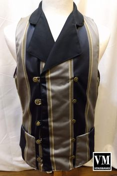 Victorian Pinstripe Double Breasted Waistcoat handmade in Vancouver, BC perfect for Steampunk, cosplay and festivals. Steampunk Makeup, Steampunk Cosplay, Poet Shirt, Double Breasted Waistcoat, Steampunk Festival, Festival Costumes, Black Dress Pants, Burning Man, Grey Stripes