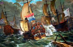 Four Days Fight - Naval battle between Dutch and English forces. Anglo-Dutch War.