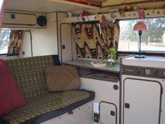 top storage Westy Interior w/ Fabric from Africa Vw Bus T3, Camper Caravan, Camper Life, Truck Camper, Vw Syncro, Volkswagen Westfalia, Kombi Home, Living On The Road, Campervan Interior