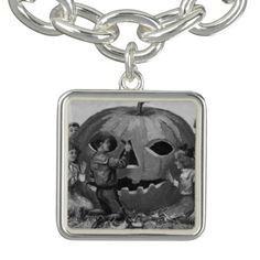 Monochrome Children Carving Jack O Lantern Pumpkin Charm Bracelets