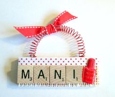 Mani Pedi Scrabble Tile Ornament by ScrabbleTileOrnament on Etsy, $8.00