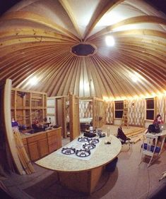 """The yurt is actually larger than the house the Busbys moved from. """"We want to have a family,"""" Sean Busby says. """"We have two dogs, and we want to raise our kids"""" in the yurt. The Busbys, Yurt Home, Yurt Living, Van Home, Cabin Interiors, Wilderness Survival, Survival Tips, Interior Stairs, Off The Grid"""