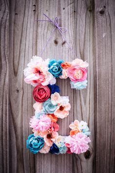 """Custom 13 1/2"""" Floral Letter // Birthday party decor, photo prop"""