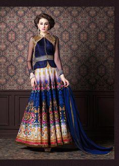 Blue Silk Designer Anarkali Salwar Kameez 70711
