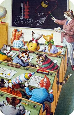 Maybe they're learning how to be nyancats? XD I dig the weirdness and kitschy vintage style.